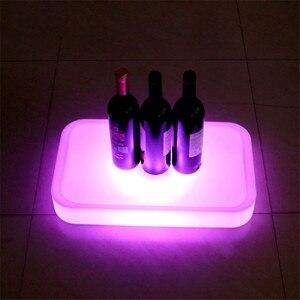 Image 5 - 16 Farbe Veränderbare Quadrat LED leuchtet Serviertablett USB Wiederaufladbare fruchtgetränke KTV Bars trays licht Mit fernbedienung