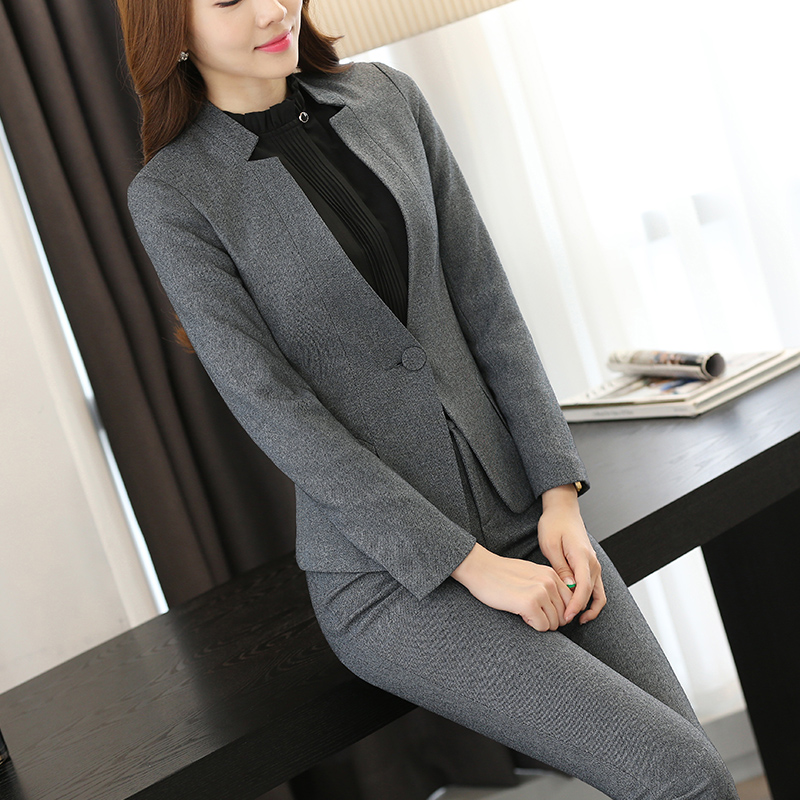 2 piece Gray Pant Suits Formal Ladies Office OL Uniform Designs Elegant Business Work Wear Jacket with Trousers Sets 3