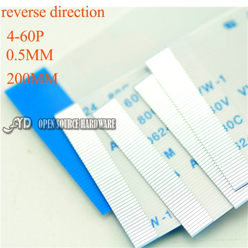 5pcs/lot Reverse Direction  4-60PIN FFC TTL Cable Length 0.5MM 200mm Insulation Material