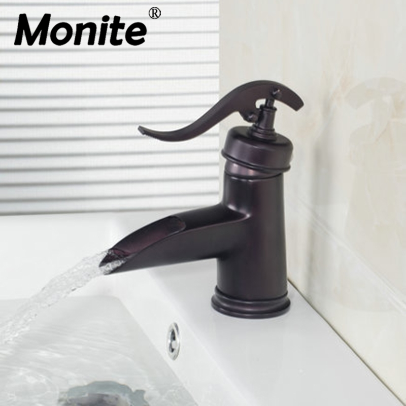 цены New Waterfall Bathroom Sink Basin Torneira Faucet Oil Rubbed Black Bronze Deck Mounted ,Mixer Tap