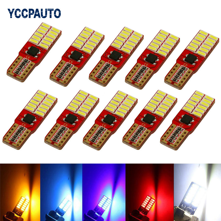 w5w T10 Car LED Lights Clearance Bulb Door Reading Lamp Super bright 24 SMD 4014 12V Auto Canbus Externa Turn Signal Light 10pcs