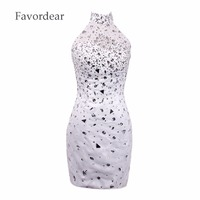 Favordear New Sexy Sheer Back Homecoming Dress Silver Stones Prom Dresses High Neck Sparkly Beading White Cocktail Dresses