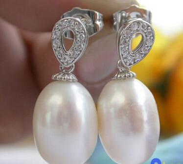 Vente chaude> livraison gratuite 13378 tear blanc d'eau douce perle gemmy zircon balancent boucle d'oreille-Mariée bijoux livraison gratuite