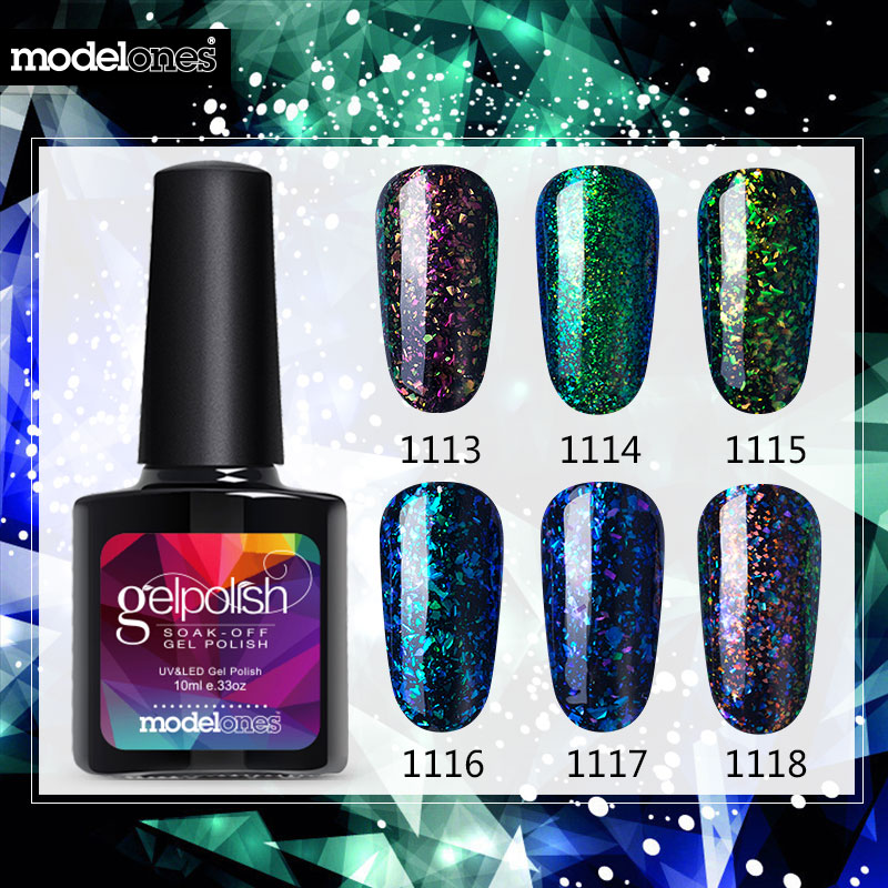 Modelones Shiny Galaxy Nail Gel Polish Colorful Glitter