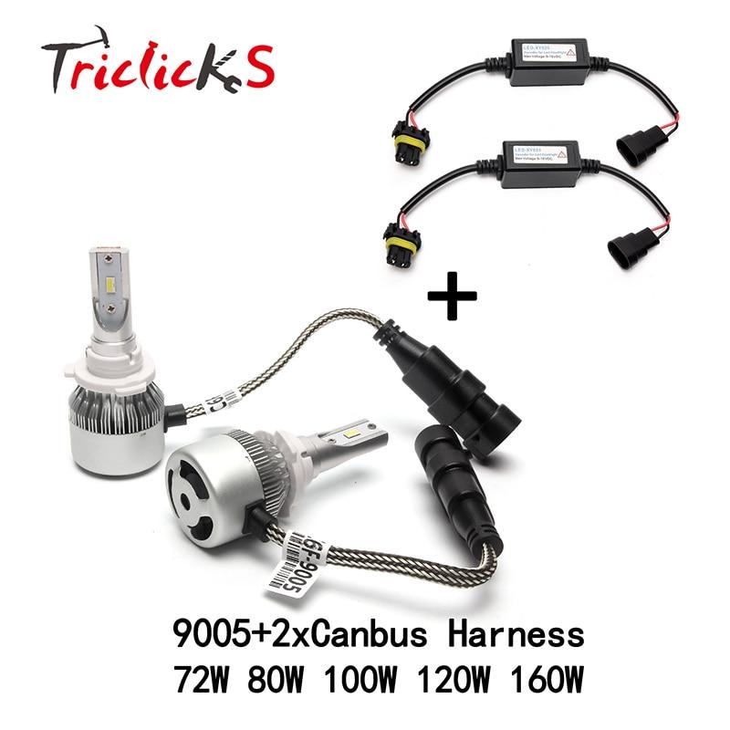 Triclicks 9005/HB3 LED De Voiture Phares + Livraison 2x Canbus Fil Harnais Kit salut-Lo Pas D'erreur Canbus Ampoule de Phare Pour Audi Benz VW BMW