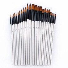 12 шт. кончик/плоские кисти для рисования набор кистей для рисования акриловых масляных акварельных красок Набор для творчества