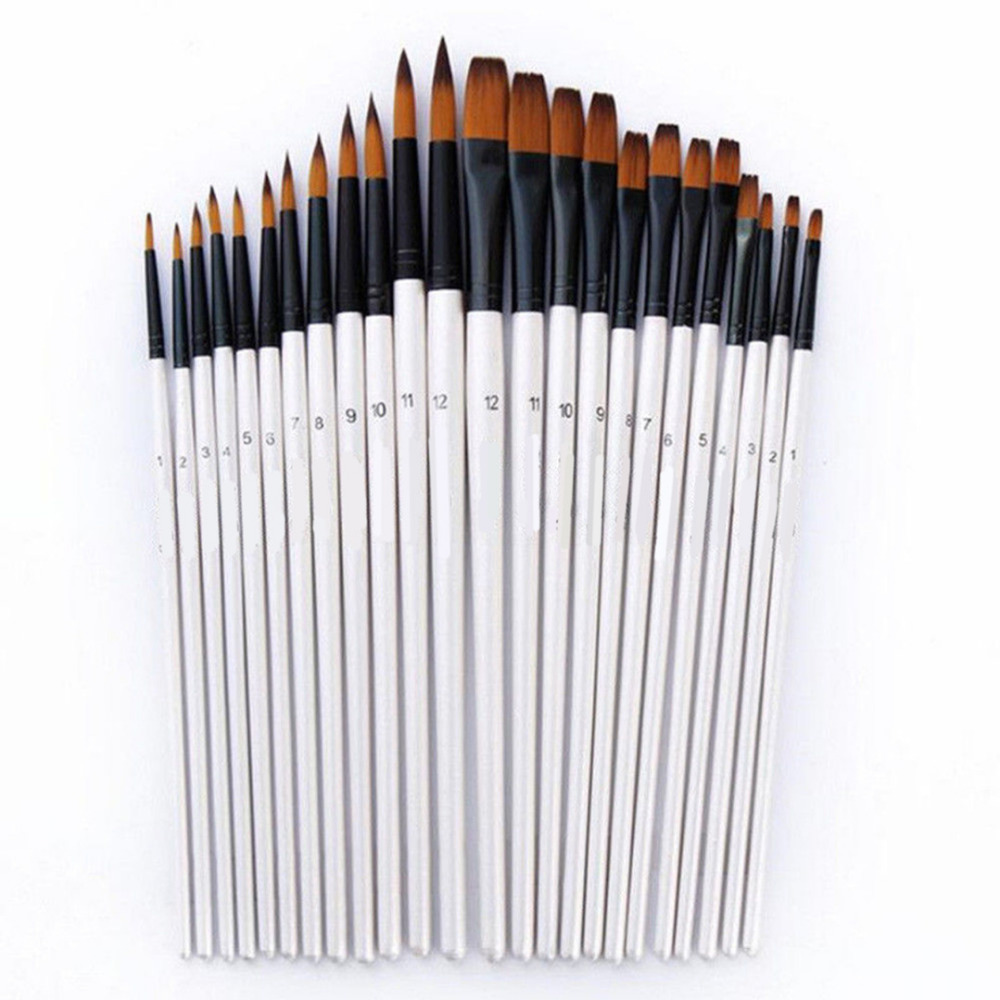 12Pcs Tip / Flat Paint Brushes Paint Brushes Set Artist Paint Brushes Set Acrylic Oil Watercolor Painting Craft Art Kit