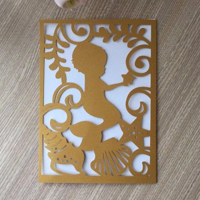 Carte dinvitation mignonne pour bébé garçon | Sirène, à utiliser pour mariage, révélateur de sexe, fête prénatale baptême et anniversaire, 50 pièces/lot