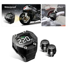 Wireless Sensor Motorcycle Tire Pressure Monitoring Waterproof LCD Display Installation Flexible / Migration Black Drop Shipping