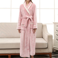 Women Long Bath Robe Nightgown Winter Warm Fleece Women's Bathrobe Nightgown Dressing Gown Sleepwear Female Home Clothes #40