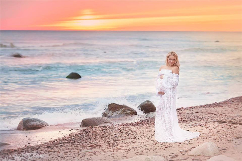 Sexy Maternity Dresses For Photo Shoot Lace Long Maternity Photography Props Pregnancy Dress Pregnant Women Maxi Gown Clothes (2)
