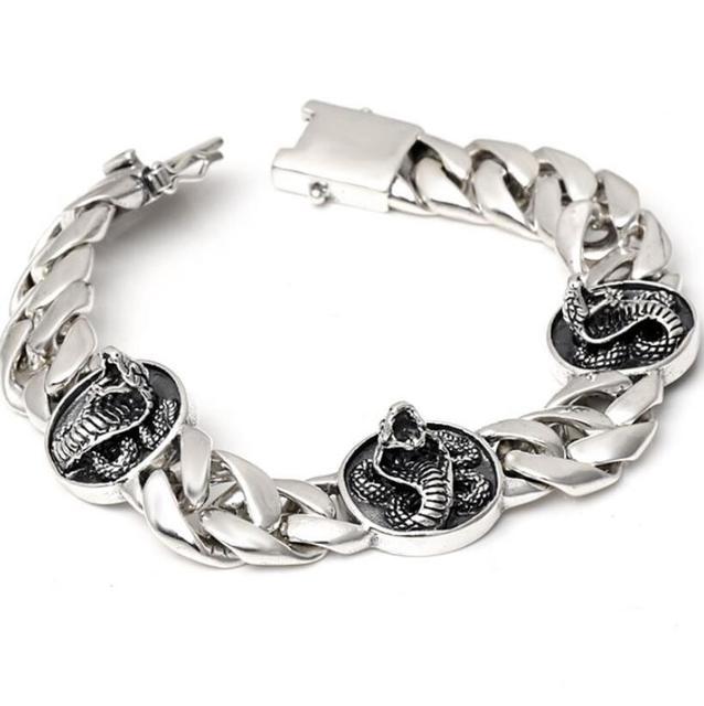 Cobra Charm Sterling 925 Silver Bangle Bracelet flat Hand Chain