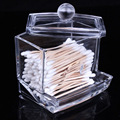 Makeup Cosmetic Clear Acrylic Storage Box with Lid Desktop Organizer Cotton Swab Holder Case