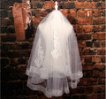 New Arrival Two Layers Sequins Beaded Lace Wedding Veil Short Bridal Veil