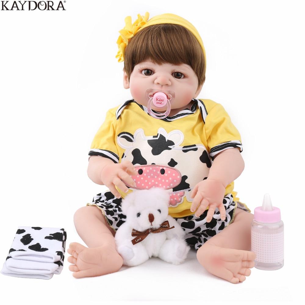 KAYDORA 55cm Reborn Doll Baby Silicone Girl Princess Babies Vinyl 22 inch Christmas Gift Fashion Cute Bebe
