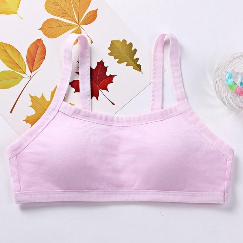Puberty Girls Summer Solid Print Seamless Training Bra Teenage Soft Cotton Underwear
