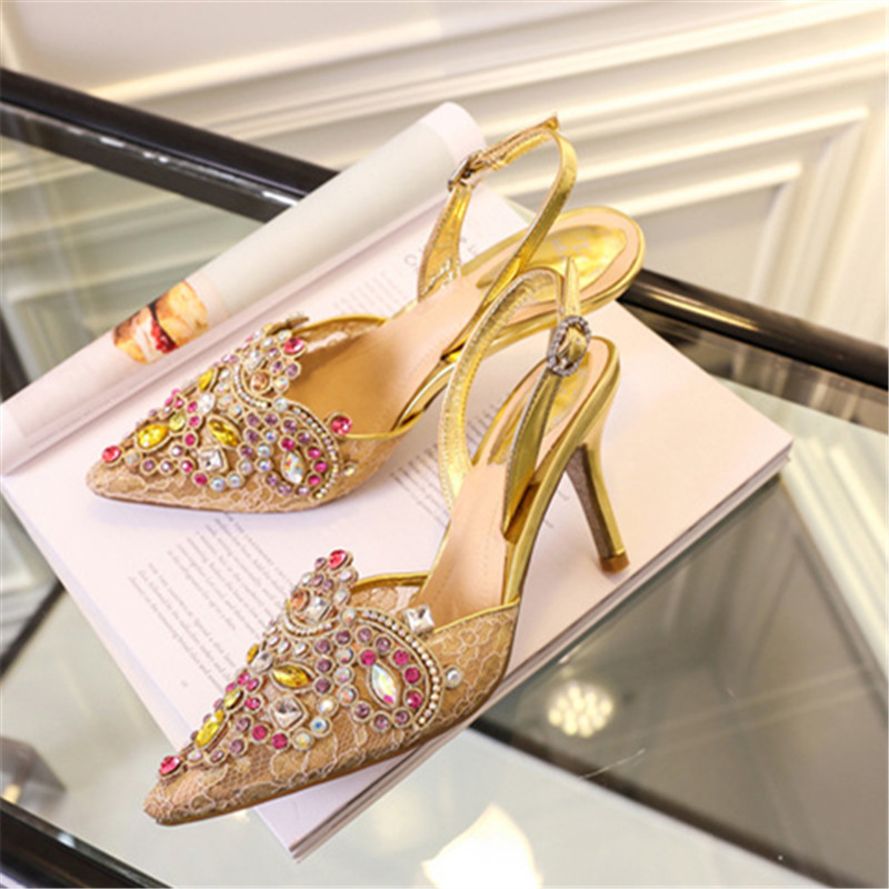 Show Pompes Boucle Femme Stilettos Bout Slingback Chaussures Sandlias Show Glitter As Mode Talons Hauts Mujer Strass Parti Été Strap Pointu as OdUzwO