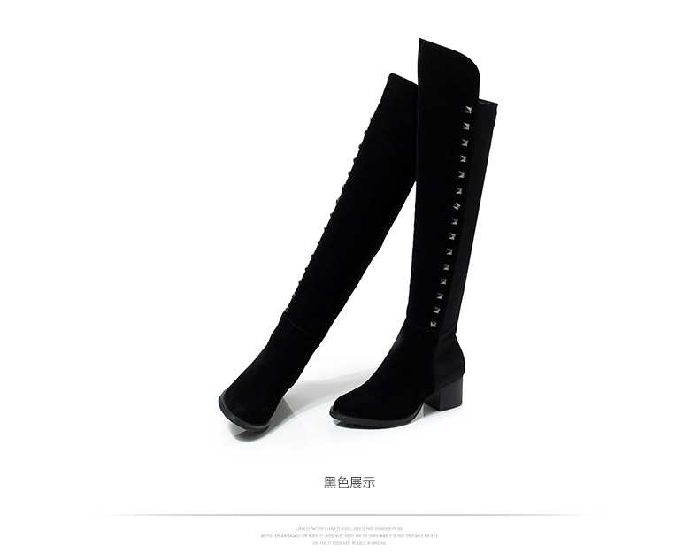 ФОТО 2014 New European And American Women'S Autumn Winter Flock High Boots Women Plus Size Rivet Boot Over  Knee Free Shipping Q806