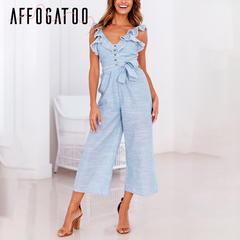 Affogatoo Casual ruffled cotton linen women   jumpsuit   playsuit Sleeveless button   jumpsuit   Summer wide leg overalls   jumpsuit   long