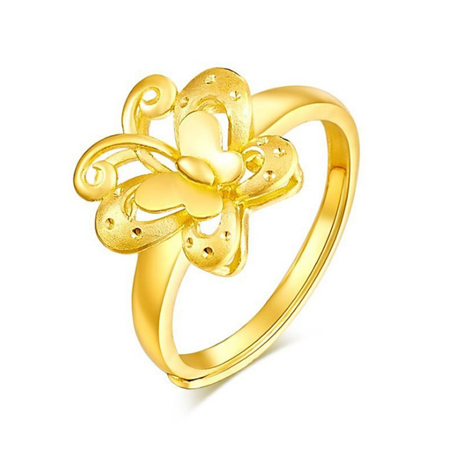 Pure 24K Yellow gold Ring Lady's Butterfly Engagement Ring 5.08g