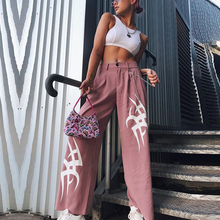 Solid Flame Print Pants Women Fashion Streetwear High Waist Wide