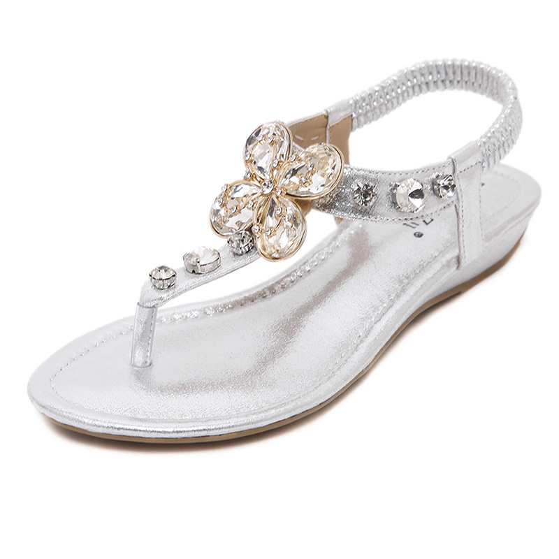 UMMEWALO Sandals Women Summer Rhinestone Heel T-strap Flip Flops Beach Thong Wedge's Shoes