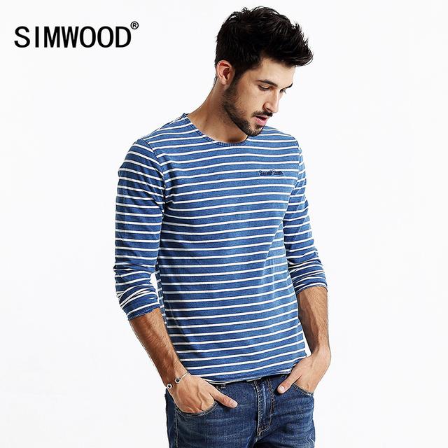 SIMWOOD 2016 nuevo otoño hombres de manga larga a rayas camiseta 100% algodón de alta calidad pullover moda casual camisa TL3507