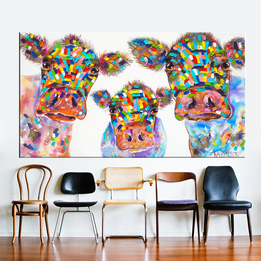 Colorful Animals Graffiti Oil Painting Cow Cows Canvas Prints for Wall Art Picture for Bedroom Living room Home Decor