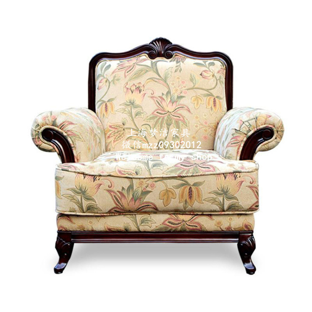 American Country Custom Carved Wood Armchair French Neoclical Single Sofa Chair Leisure Furniture