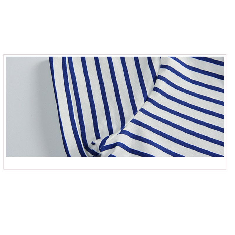 a0b3b67f9fb0d 1-6 Years Girls Dress 2018 New Blue Stripe Summer Dresses Cotton Casual  Long Tops Kids Clothing KF047