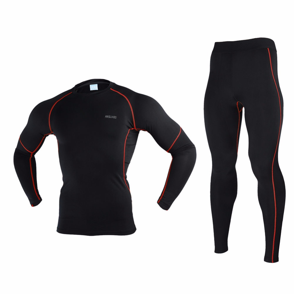 US $28 46 39% OFF|Arsuxeo Men's Winter Running T Shirt and Pants  Compression Tights Underwear Sets Bodybuilding Fitness Sport Running  Jerseys Suit-in