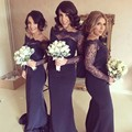 Navy Blue 2017 Cheap Bridesmaid Dresses Under 50 Mermaid Long Sleeves Satin Lace Long Wedding Party Dresses