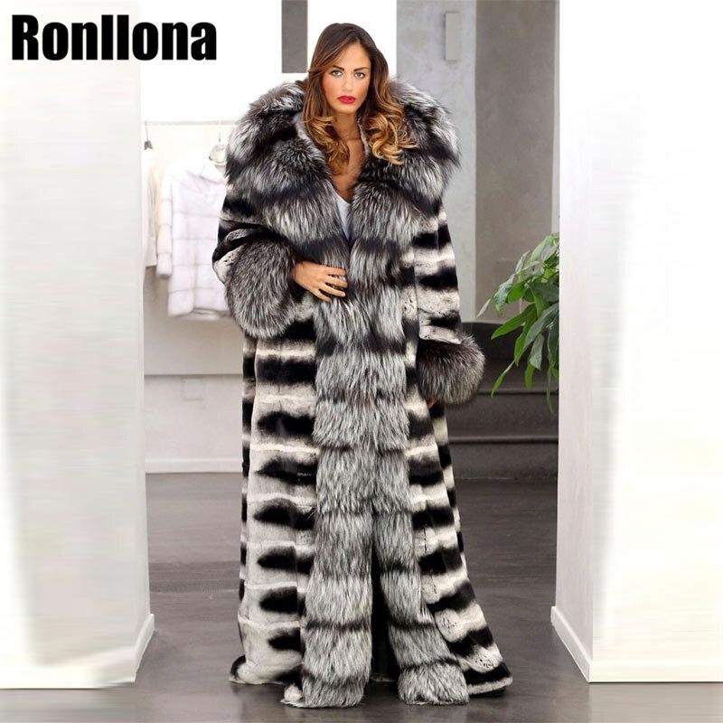 2018 Nouveau Toute La Peau Réel Chinchilla Rex De Fourrure De Lapin Manteau Avec Grand Ruban Renard Col De Fourrure Naturelle Manteau Femmes D'hiver de luxe FC-006