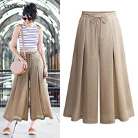 2019 Summer Plus Size Trousers for women Pants High Waist casual flared Pants Large Size wide leg loose solid trousers 5XL Femme