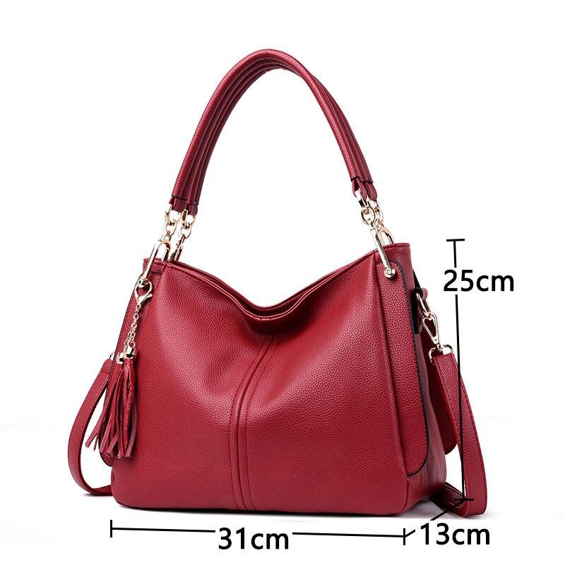 Women high quality Leather Handbag Tassel Ladies bags Leather Designer Big Tote Bags for Women 2019 Luxury Shoulder Bag Handbags in Top Handle Bags from Luggage Bags