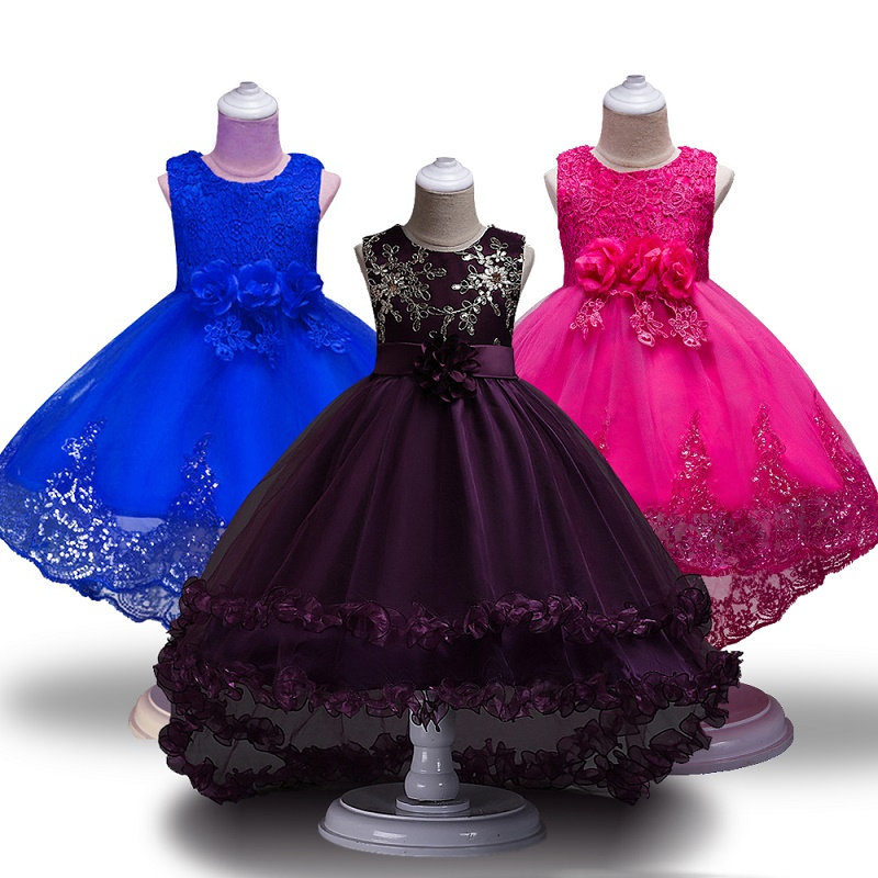 High Quality Girls Sleeveless Princess Children flower girl dress For Wedding 2 12 Years Girls Trailing