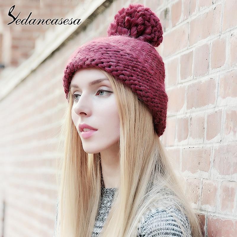 Sedancasesa 2019 New Pom Poms Winter Hat for Women Fashion Solid Warm Hats Knitted Skullies Beanies Cap Brand Thick Female Cap