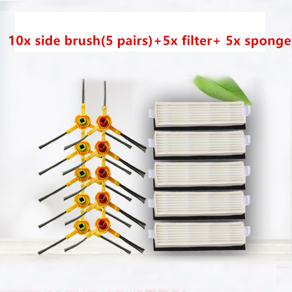 цена 10x side brush +5x hepa filter +5x sponge for ecovacs deebot slim DA60 Robot Vacuum Cleaner Parts slim DA60 side brush filters