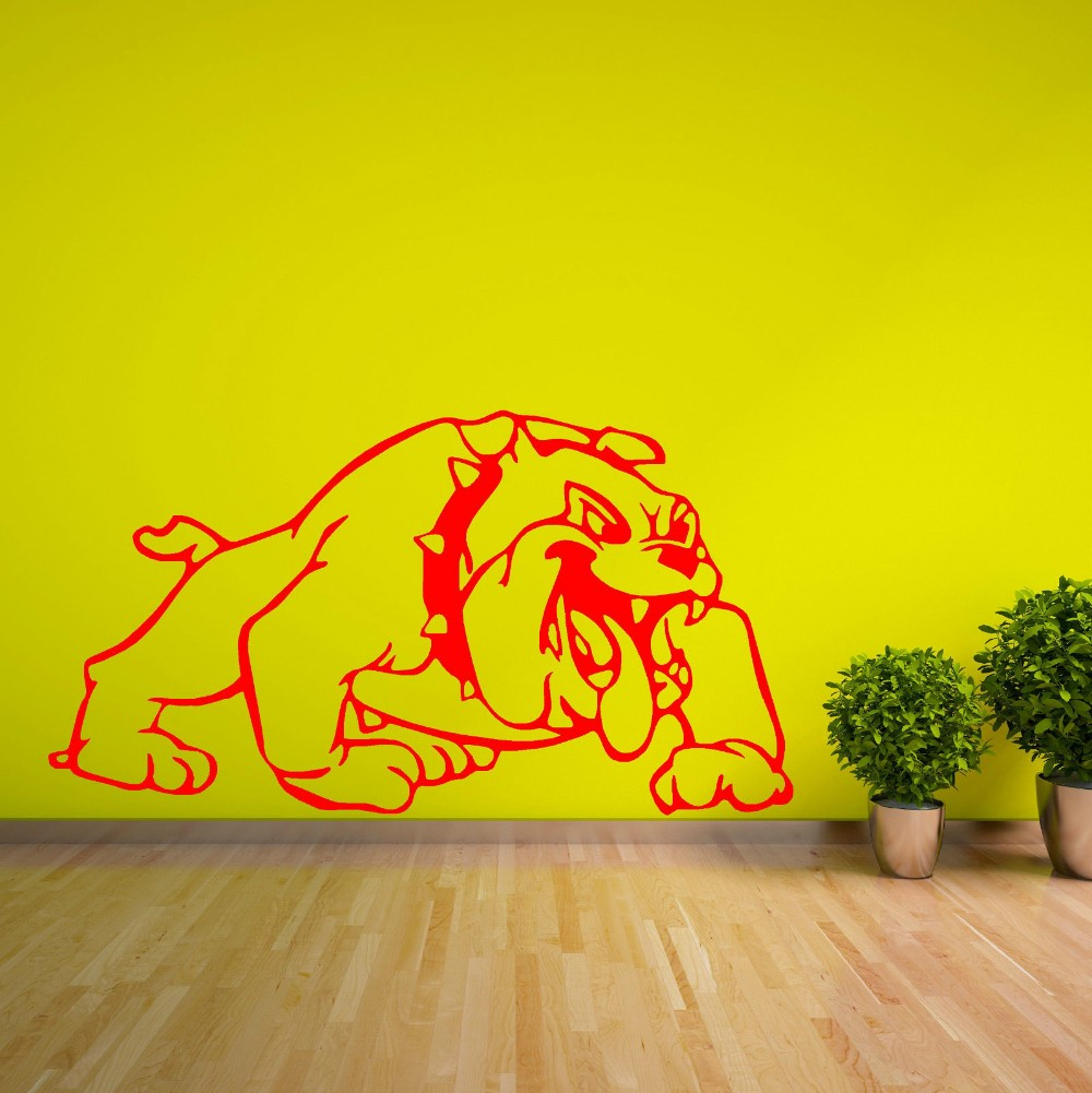 Removable Cartoon Bulldog Vinyl Art Wall Sticker British Wall Mural Home Art Decorative Wall Decals Bedroom Wallpaper Y 681-in Wall Stickers from Home ...