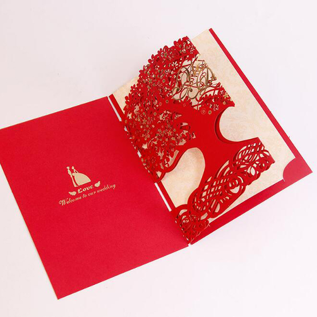 30 Pieces Lot Free Shipping Luxury Cut Out Love Tree Wedding Invitations Cards