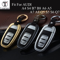 Aluminum alloy Car Key Cover Keys Case For Audi A4 S4 B7 B8 A6 A5 A7 A8 Q5 S5 S6 Q7 Auto Accessories Smart Car Key car styling