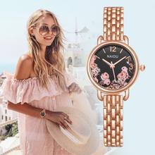 Nowa moda różowe złote zegarki kwiat wzór projekt kobiety luksusowe zegarki na branzolecie kwarcowe panie sukienka zegarki reloj mujer zegar tanie tanio QUARTZ Stop ROUND Nie wodoodporne 10mm Szkło Papier 27mm Moda casual 20cm Hook buckle Brak 2068 Wristwatches Women Relojes mujer