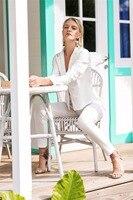 Пикантные белые Для женщин брюки костюмы минималистский клуба вечерние костюмы Офисные женские туфли костюмы индивидуальный заказ 2 шт. ку