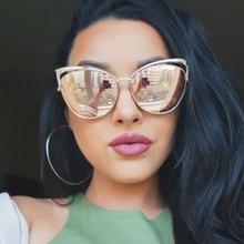 Nouveau Mode Cat Eye de luxe 2018 lunettes de Soleil Femmes Marque Designer  Double Faisceau Miroir Hommes Lunettes de Soleil Vin. 277f3bf98b80
