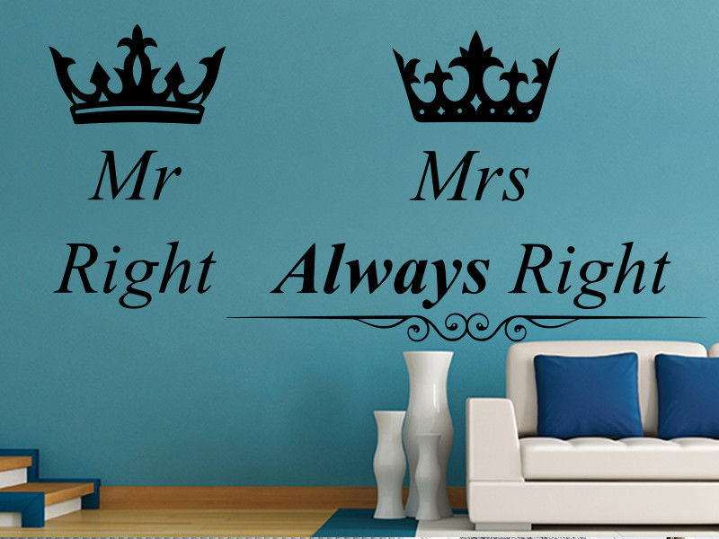 Mr Right and Mrs Always Right Poster: Funny Wife Wall Decor Home