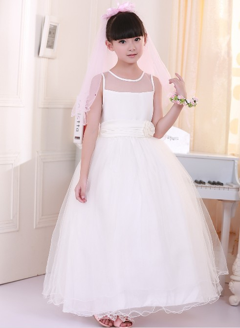 Girls Clothes Real Jersey Knee-length Ball Gown Baby 2015 New Girl Flower Wedding Kidsparty Dress Tailing Clothes Free Shipping платье для девочек baby girl clothes 2015 baby baby girls clothes