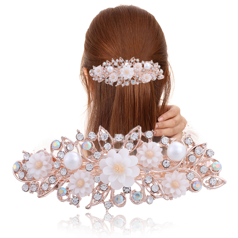 Flower Barrettes Resin Foral Hair Clip Barrette Cute Hairpin Headwear Accessories Gift For Woman Girls 6 Colors(China)
