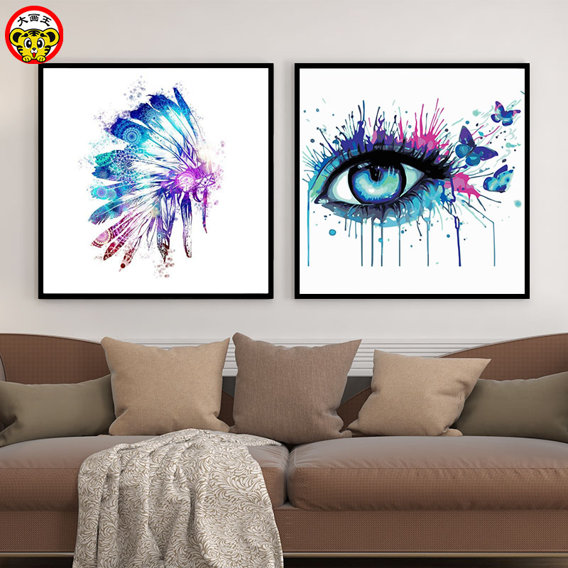 Painting By Numbers Art Paint By Number Big Picture King DIY  Watercolor Ink Animal Character Butterfly Eyes Living Room Room De