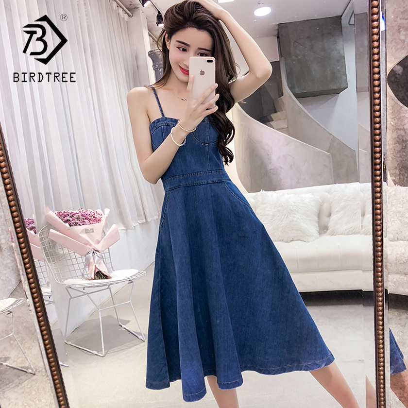 2018 New Arrival Sweet Women Slim Denim Dresses Fashion Spaghetti Strap Sexy Strapless Elegance A-Line Mini Hots Sale D85617L
