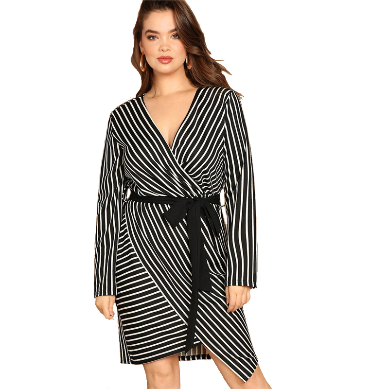 SHEIN Black and White Plus Size Deep V Neck Striped Dress Asymmetrical Hem Women Workwear Going Out Elegant Dresses 12